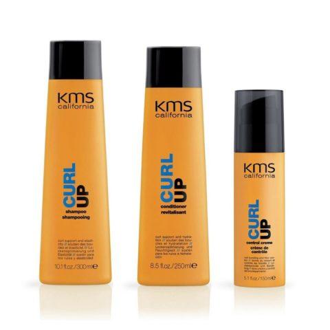 Kms california Kit4 Curlup Shampoo 300ml Conditioner 250ml Control creme 150ml