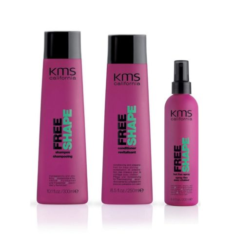 Kms california Kit4 Freeshape Shampoo 300ml Conditioner 250ml Hot flex spray 200ml