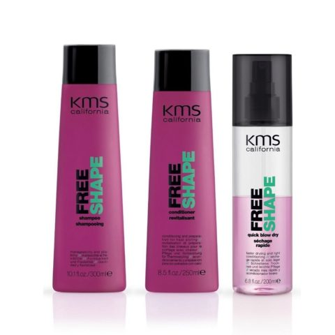 Kms california Kit5 Freeshape Shampoo 300ml Conditioner 250ml Quick blow dry 200ml