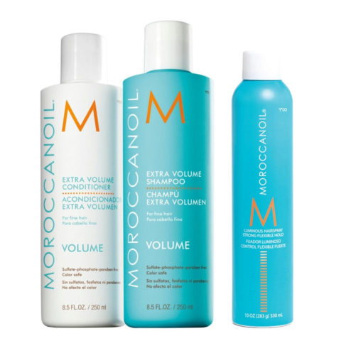 Moroccanoil Kit3 Extra volume shampoo 250ml Balsamo 250ml Lacca lucidante 330ml