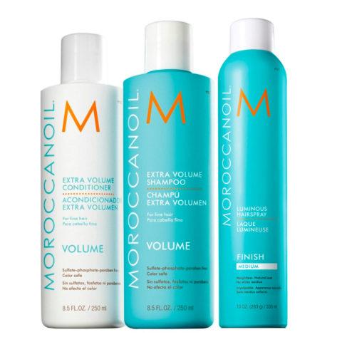 Moroccanoil Kit3 Extra volume shampoo 250ml e conditioner 250ml Luminous hairspray 330ml