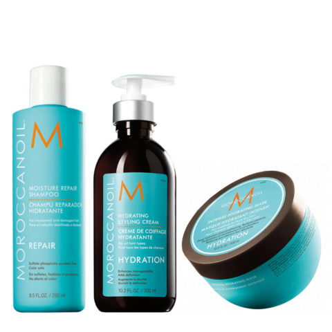 Moroccanoil Kit idratante Shampoo 250ml Crema 300ml Maschera 250ml