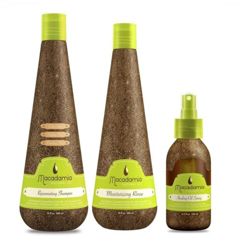 Macadamia Kit1: Rejuvenating Shampoo, Moisturizing Rinse, Healing Spray Oil