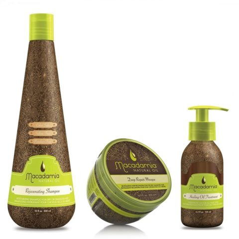 Macadamia Kit3: Rejuvenating Shampoo, Deep Repair Masque, Healing Oil Treatment