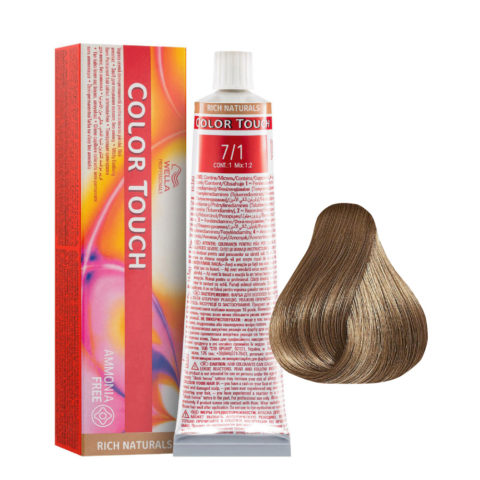 7/1 Biondo Medio Cenere Wella Color Touch Rich Naturals senza ammoniaca 60ml