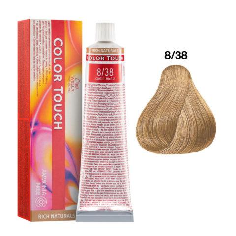 8/38 Biondo Chiaro Dorato Perla Wella Color Touch Rich Naturals senza ammoniaca 60ml