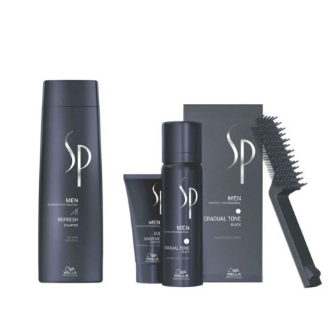 Wella SP Men Kit Refresh Shampoo 250ml  Gradual Tone Nero 60ml