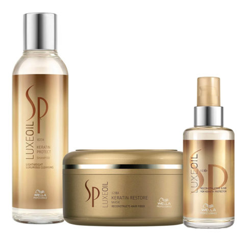 Wella SP Kit4 Luxe Oil Keratine protect shampoo 200ml Keratin restore mask 150ml Wella Elisir Luxe Oil 100ml