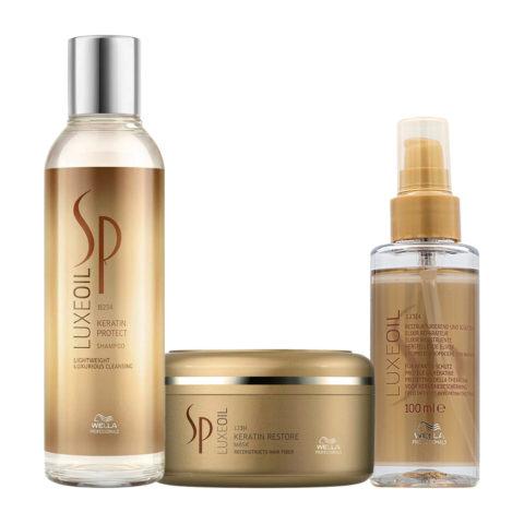 Wella SP Kit4 Luxe Oil Keratine protect shampoo 200ml Keratin restore mask 150ml Wella Elisir Luxe Oil 100ml