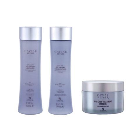 Alterna Caviar Repair Kit2 Instant recovery shampoo 250ml Conditioner 250ml Fill & fix treatment masque 161g
