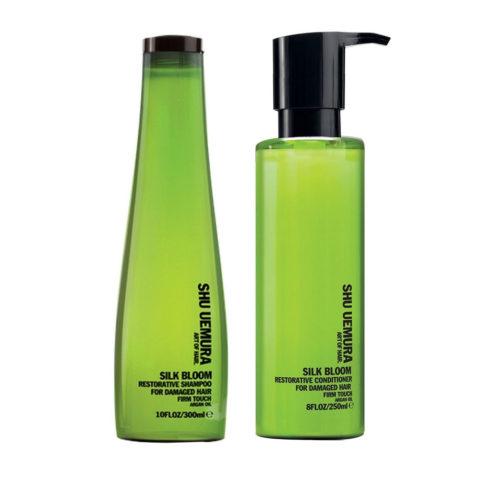 Shu Uemura Kit1 Silk Bloom Restorative Shampoo 300ml e Balsamo 250ml rinforzanti per capelli danneggiati