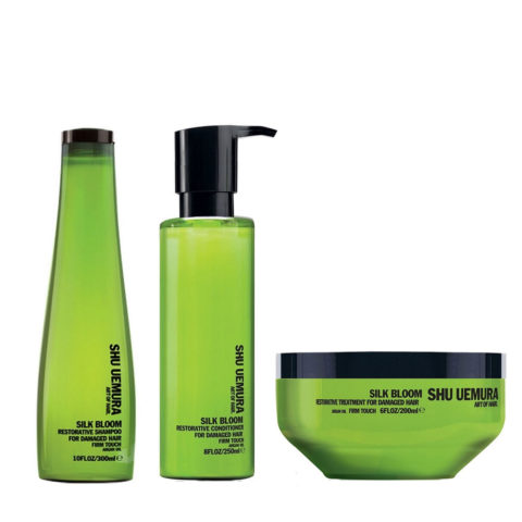 Shu Uemura Kit2 Silk Bloom Restorative Shampoo 300ml Balsamo 250ml Maschera 200ml rinforzanti
