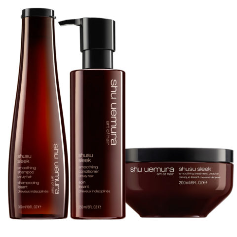 Shu Uemura Shusu Sleek Shampoo 300ml Balsamo 250ml Maschera 200ml Anticrespo