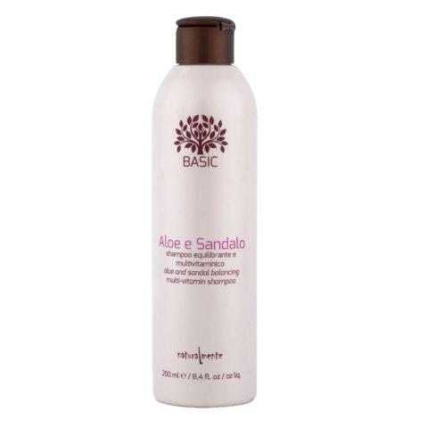 Naturalmente Basic Aloe e sandalo Shampoo equilibrante e multivitaminico 250ml