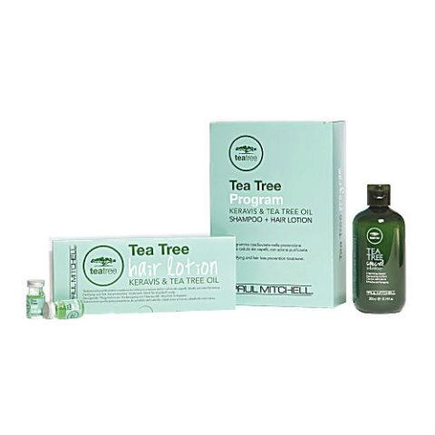 Paul Mitchell Tea tree Program Shampoo 300ml + Hair Lotion 12 Fiale - anticaduta