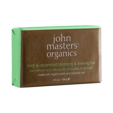 John Masters Organics Birch & Cedarwood Cleansing & Shaving Bar 128gr - sapone e dopo barba