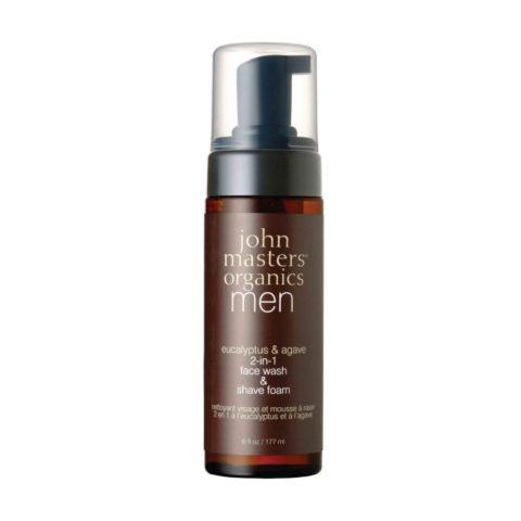 John Masters Organics Eucaliptus & Agave 2-in1 Face Wash & Shave Foam 177ml - schiuma da barba