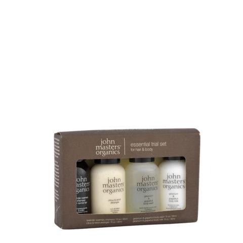 John Masters Organics Travel Kit: Shampoo, Detangler, Body Wash, Body Milk 4x30ml