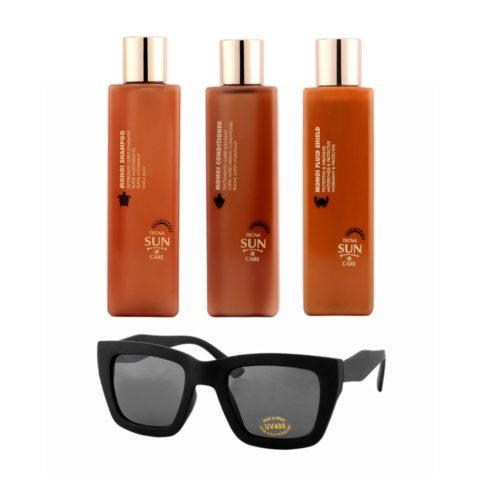Tecna Monoi sun care Shampoo 250ml Conditioner 250ml Fluid shield 200ml free sunglasses