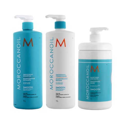 Moroccanoil Smoothing Kit Shampoo 1000ml Conditioner 1000ml Mask 1000ml - trattamento anticrespo