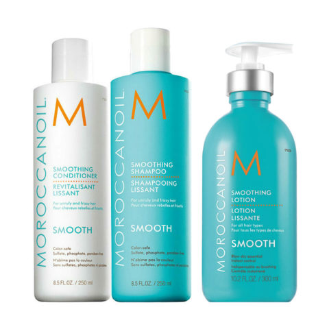 Moroccanoil Smoothing Kit Shampoo 250ml Conditioner 250ml Lotion 300ml - trattamento anticrespo