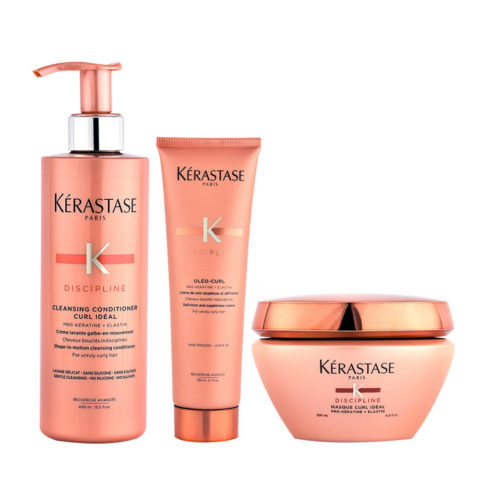 Kerastase Discipline Curl ideal Kit Cleansing conditioner 400ml Masque 200ml Oleo curl 150ml pochette omaggio