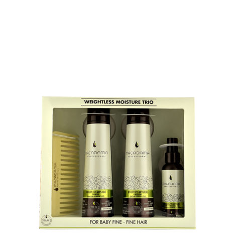 Macadamia Weightless moisture Trio: Shampoo 300ml  Conditioner 300ml  Mist 100ml  pettine omaggio
