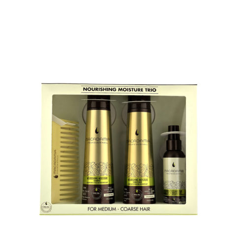 Macadamia Nourishing moisture Trio: Shampoo 300ml  Conditioner 300ml  Mist 100ml  Comb