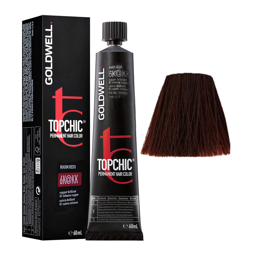 6K@KK Rame brillante illuminato rame intenso Goldwell Topchic Warm reds tb 60ml