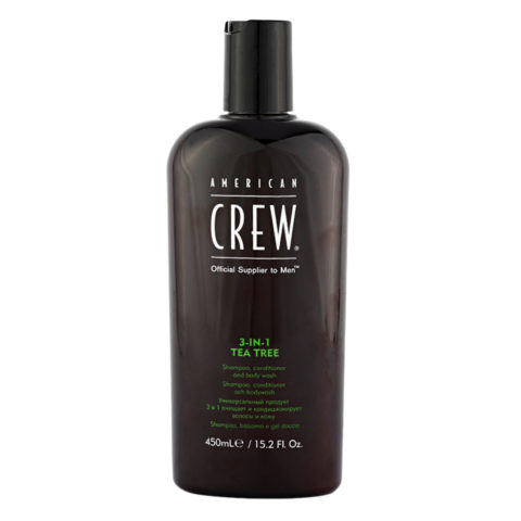 American crew Tea Tree 3 in 1 Shampoo Conditioner and Body Wash 450ml - shampoo, balsamo e bagnoschiuma