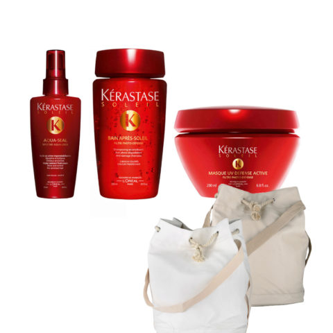 Kerastase Soleil Kit  Aqua Seal 125ml  Bain Photo-defense 250ml  Masque 200ml  Omaggio sun bag