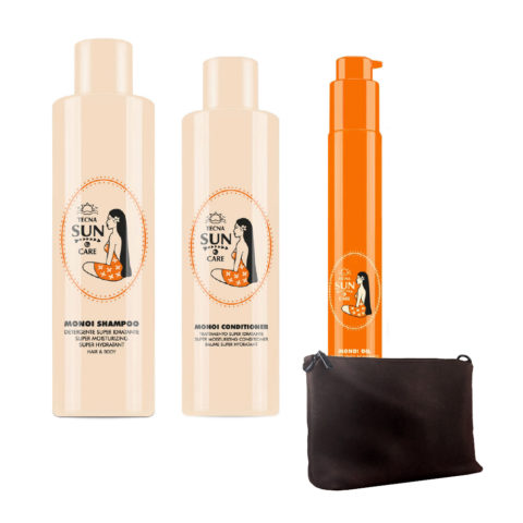 Tecna Sun care Monoi Kit  Shampoo 250ml  Conditioner 200ml  Oil 75ml  free trousse