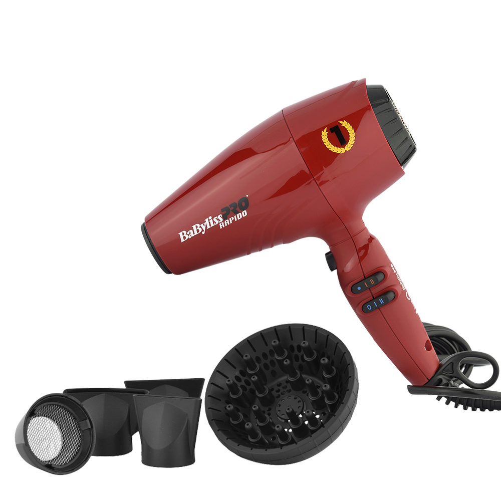 Babyliss Pro Asciugacapelli Rapido Red BAB7000IRE - Rosso