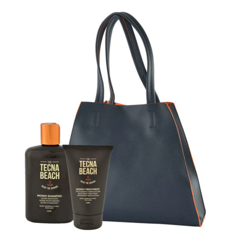 Tecna Monoi Suncare Kit Shampoo 250ml Treatment 150ml Monoi Oil 75ml Omaggio Sun bag