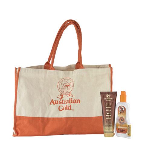 Australian Gold Kit HOT! Intensificatore  Protezione Solare SPF30  Stick Labbra 30   Omaggio Sun bag