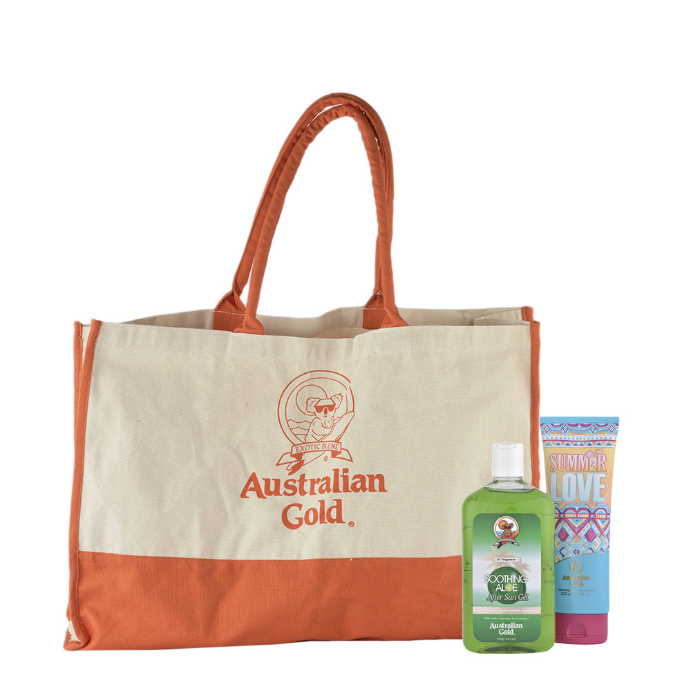Australian Gold Kit Summer Love intensificatore  Doposole Soothing Aloe Gel    Omaggio Sun bag