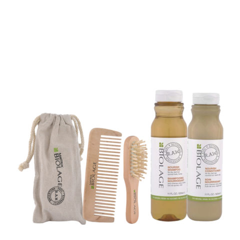 Matrix Biolage RAW Kit Nourish Shampoo 325ml  Nourish Conditioner 325ml  Omaggio pettine e spazzola