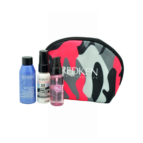 Redken Travel Kit Extreme Anti-Snap 50ml  One United Spray 30ml  Diamond Oil Glow dry oil 30ml Omaggio pochette