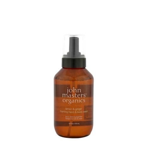 John Masters Organics Lemon & Ginger Foaming hand & body Wash 473ml - detergente mani/corpo