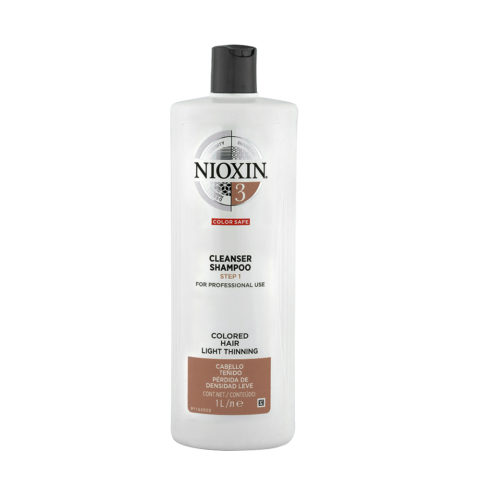 Nioxin Sistema3 Cleanser Shampoo 1000ml - capelli colorati diradati
