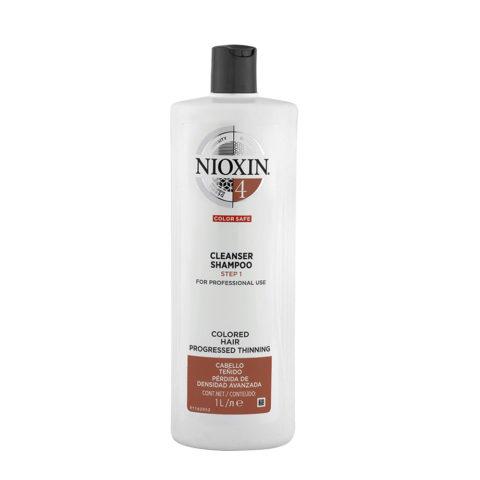 Nioxin Sistema4 Cleanser Shampoo 1000ml - capelli colorati visibilmente deboli e radi