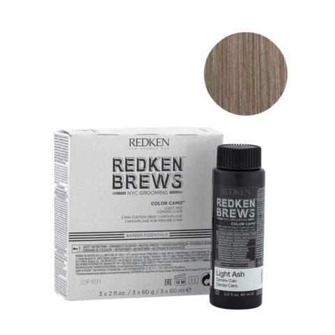 Redken Brews Man Color camo Light ash 3x60ml - colorazione uomo capelli grigi