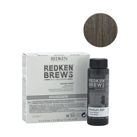 Redken Brews Man Color camo Medium ash 3x60ml - colorazione uomo capelli grigi