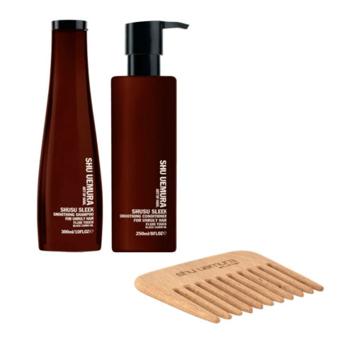 Shusu Sleek Kit1 Shusu Sleek Shampoo 300ml Conditioner 250ml - omaggio pettine