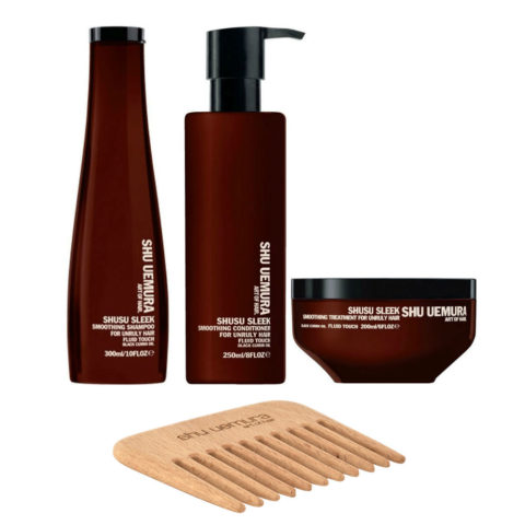 Shu Uemura Shusu Sleek Shampoo 300ml Balsamo 250ml Maschera 200ml Anticrespo Pettine in Omaggio