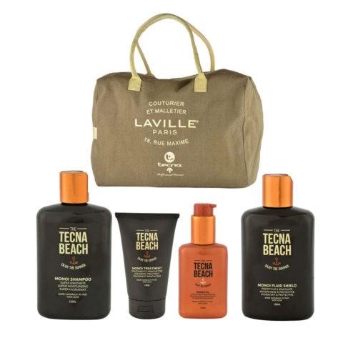 Tecna Beach Monoi kit Shampoo 250ml Treatment 150ml Oil 100ml Fluid 200ml omaggio borsa