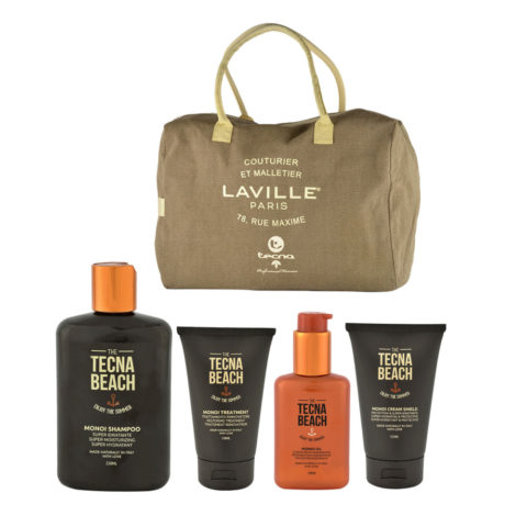 Tecna Beach Monoi kit Shampoo 250ml Treatment 150ml Oil 100ml Cream 200ml omaggio borsa