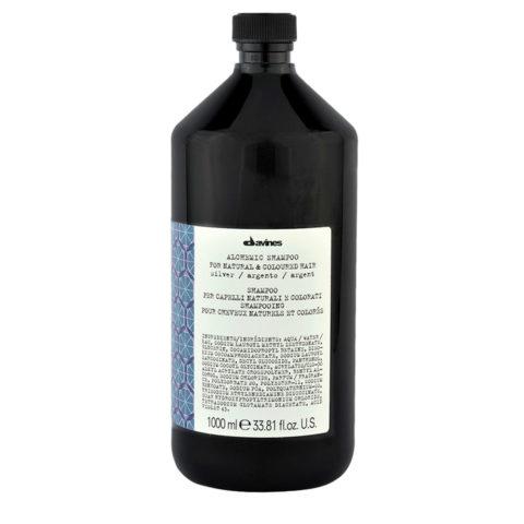 Davines Alchemic Shampoo Silver 1000ml - shampoo antigiallo per capelli biondo platino