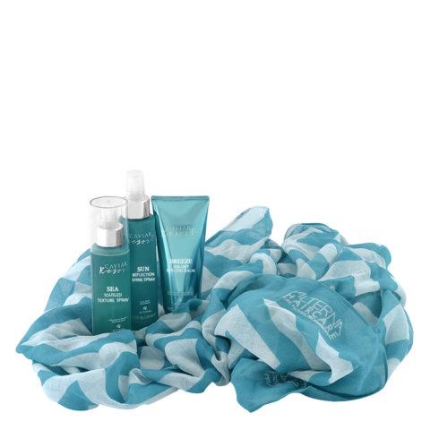 Alterna Caviar Resort Kit Texture Spray 118ml Air-Dry Balm 100ml Shine Spray 125ml + telo omaggio