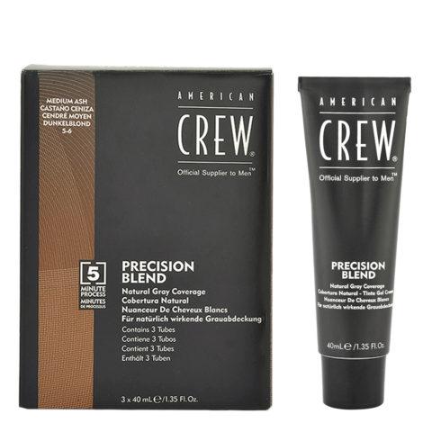 American Crew Classic Precision Blend 5-6 castano medio cenere 3x40ml - colorazione per uomo